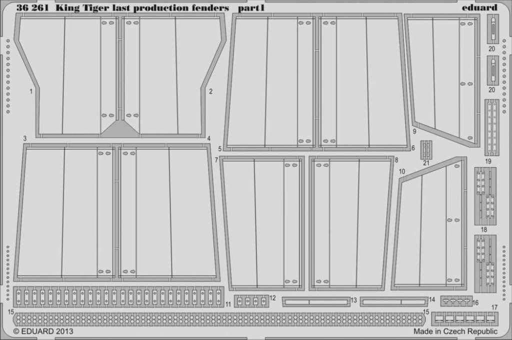 Eduard 1:35 キングタイガー ラストプロダクションフェンダー アカデミー用 PEディテールセット #36261 B07GLZ98JH