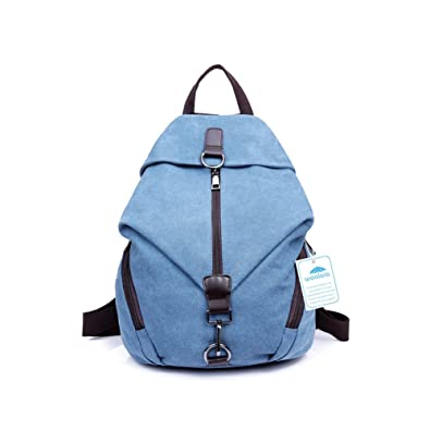 2525dfcc75d9 Yoome Canvas Vintage Backpack Purse with Hasp Zipper School College Bookbag  for Women   Men Blue  Amazon.co.uk  Shoes   Bags