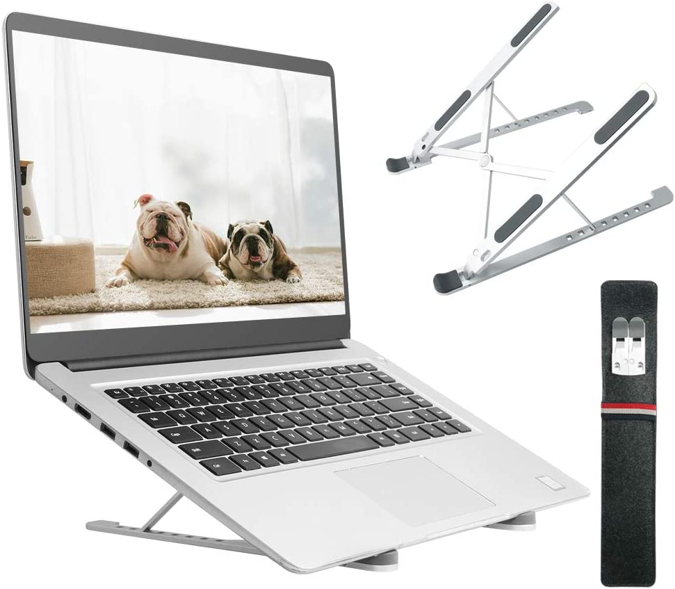 "OKPOW Laptop Stand, Aluminum Ventilated Laptop Riser for Desk, 8-Levels Adjustable Portable Foldable Computer Stand Laptop Holder, Compatible with iPad and Dell, HP, Lenovo All 10-15.6"" Notebooks"