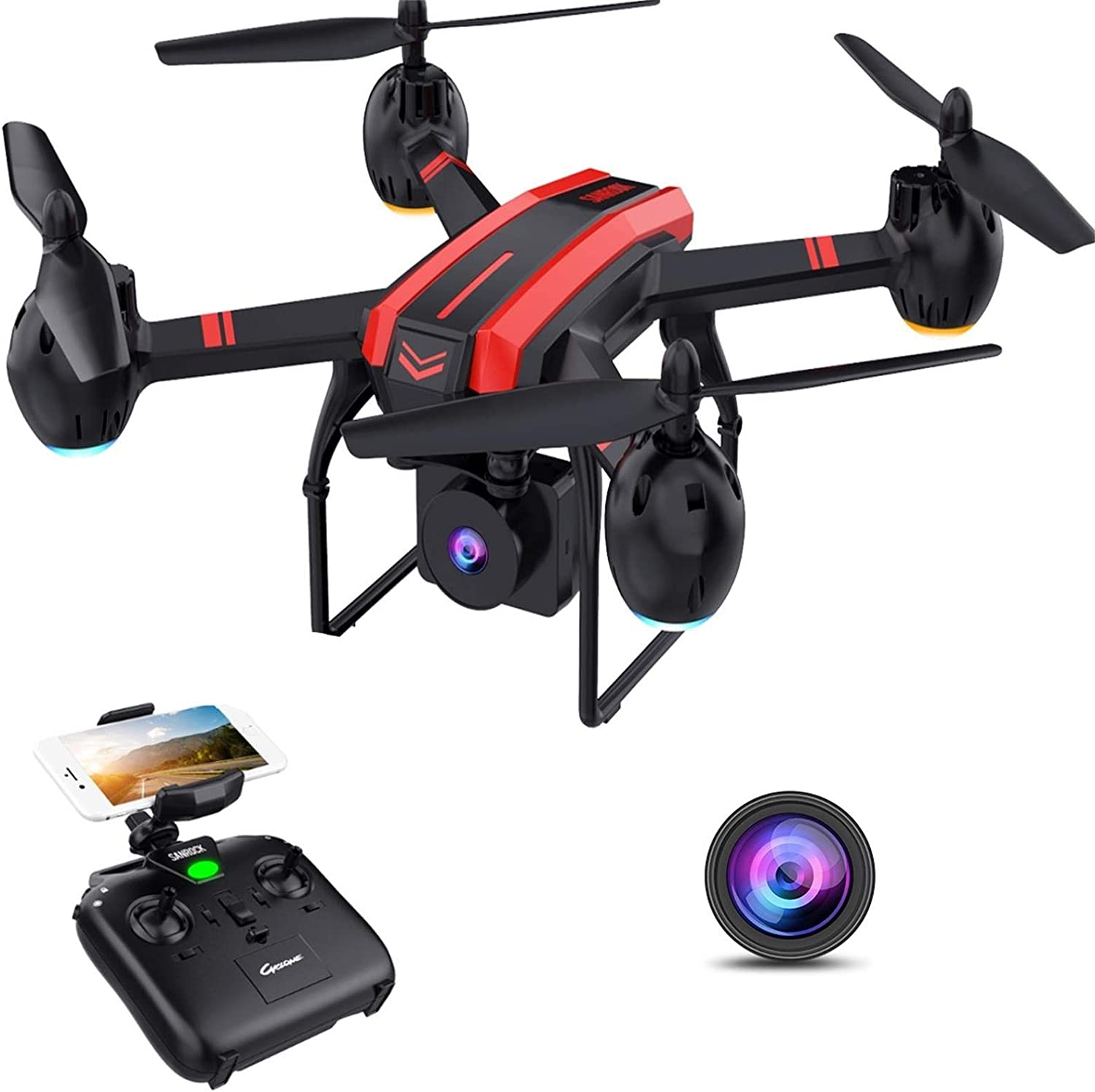 image of a drone with control in black and red combination
