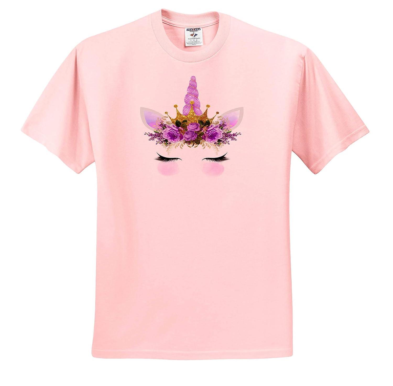 Design 3dRose Anne Marie Baugh Adult T-Shirt XL ts/_316300 Pretty Purple Floral Unicorn Face Illustration