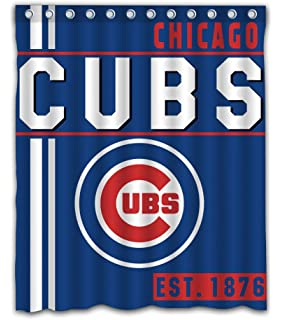 Chicago Baseball Team Emblem Waterproof Shower Curtain Blue Design Polyester For Bathroom Decoration 60 X 72