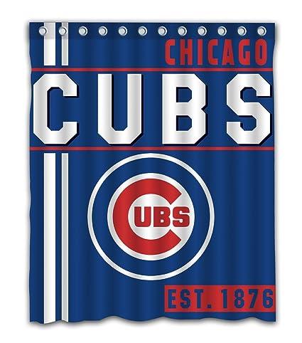 Chicago Baseball Team Emblem Waterproof Shower Curtain Blue Design Polyester For Bathroom Decoration 60 X 72
