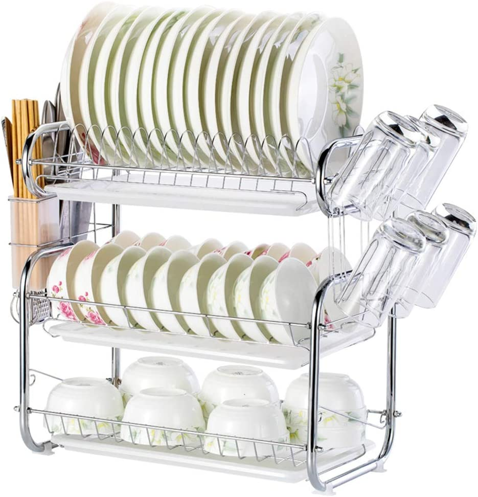 Tasses WM-LIHGT Egouttoir /à Vaisselles 3 Etage Egouttoir Vaisselle avec 3 Bacs d/'/égouttement Egouttoir Vaisselle INOX Ne Rouille Pas pour Assiettes Couverts /Égouttoirs//A Verres