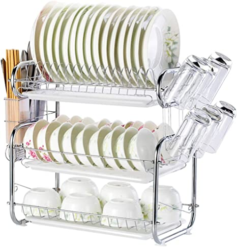 Stainless Steel 3 Tier Dish Drying Rack Kitchen Dishes Rack With Removable Drain Board Sturdy Large Capacity Plate Dish Drainer Organizer A Kitchen Dining