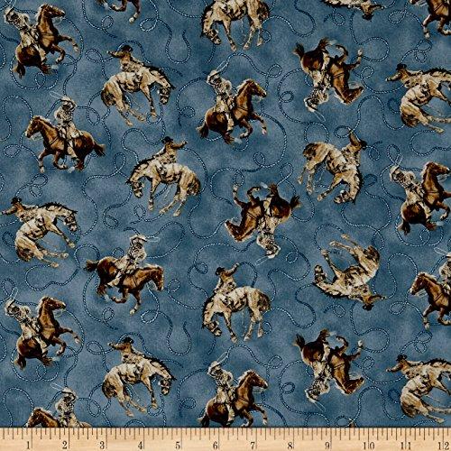QT Fabrics Round 'Em Up Cowboy On Horse Dark Blue Yard
