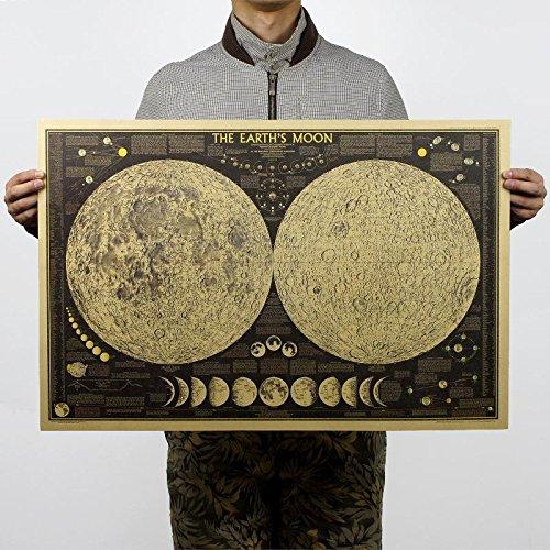 Atiehua Pegatinas De Pared Gran Vintage Retro Papel Tierra Luna Mapa Del Mundo Cartel De La Pared Decoración Del Hogar...