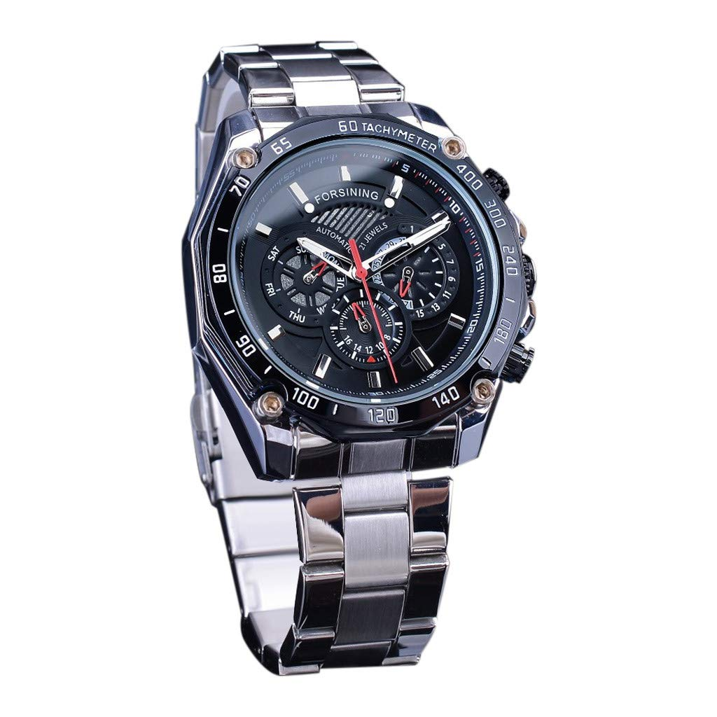 2019 Summer Deals ! Waterproof Three Eye Six Needle Automatic Mechanical Men's Steel Belt Watch Wrist Watch for Men Under 10