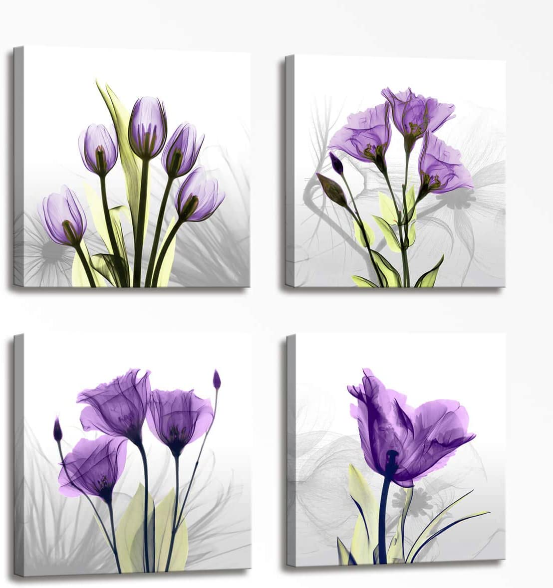 Home Decorations for Living Room Floral Composition - 4 Panels Purple Elegant Tulip Flowers Painting Canvas Prints Modern Large Canvas Wall Art Framed Art for Bedroom Office Decor 16x16 inch 4pcs/Set