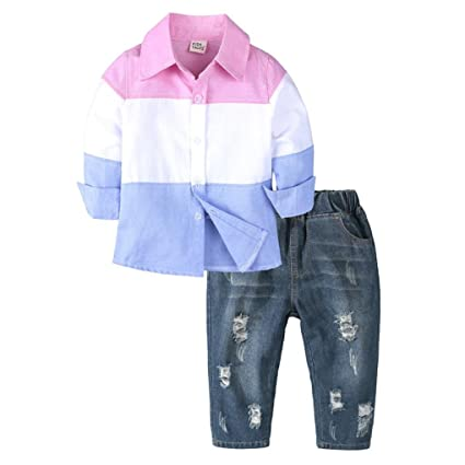 a801fd87c49b Jchen(TM) Fshion New Style Toddler Baby Kids Boys Gentleman Patchwork Long  Sleeve T Shirt Shirt Denim Pants Outfits Clothes Sets for 1-6 Years Old ...