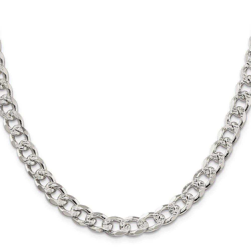 Sterling Silver 8mm Pav? Curb Chain