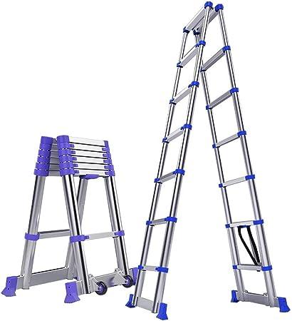 ZR- Escalera De Extension Portátil Aluminio A-Frame Escalera Plegable Telescópica Telescópica Capacidad De Carga De 330Lb Casa Propósito Muti -Fácil de almacenar y fácil de llevar (Size : 2M(6.5ft)): Amazon.es: Hogar