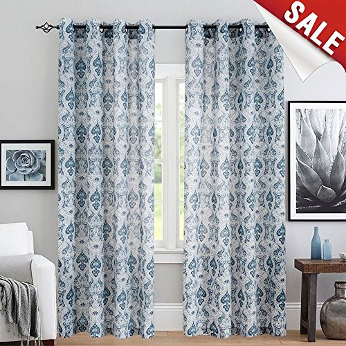 Cheap jinchan Medallion Linen Curtains for Living Room Flax Retro Print Linen Blend Damask Curtains for Bedroom Window Drapes 1 Pair, 108″ Length Blue Curtain Panels