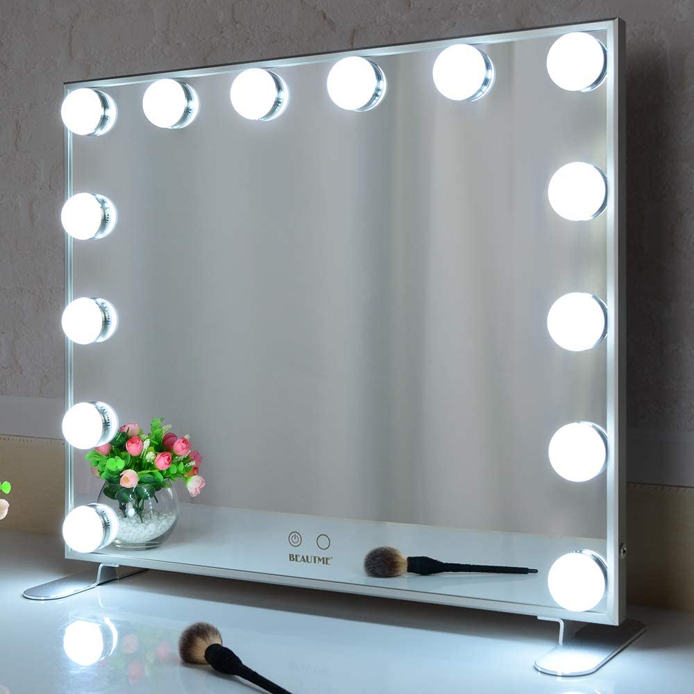 Amazon Com Hollywood Vanity Mirror With Lights Lighted Makeup Mirror With 14pcs Dimmer Bulbs Dressing Table Mirror Wall Mounted Mirror Smart Touch Control Silver