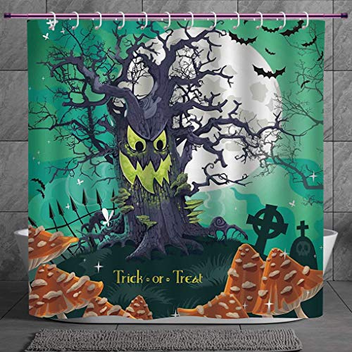 SCOCICI Decorative Shower Curtain 2.0 [ Halloween Decorations,Trick or Treat Dead Forest with Spooky Tree Graves Big Kids Cartoon Art,Multi ] Bathroom Accessories with Hooks