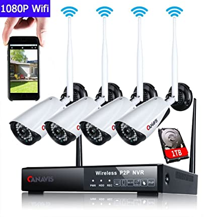 Vigilancia Cámara Set, canavis WiFi Vigilancia Exterior con 4pcs HD 1080P IP CCTV Cámara/