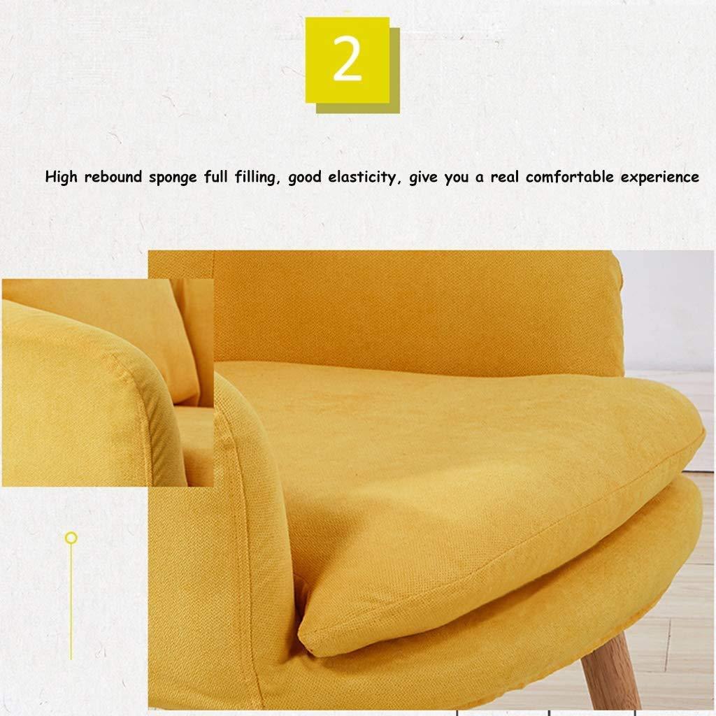 LQ Soffstol i trä, modern linnefåtölj, helt avtagbart bomullslinne, ekbärande fötter, lämplig för vardagsrum, kafé (färg: Grön) Röd
