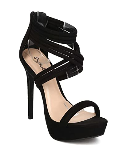 932a71b49c795 Qupid Women Suede Open Toe Tube Ankle Cuff Platform Sandal EF05 - Black  (Size: