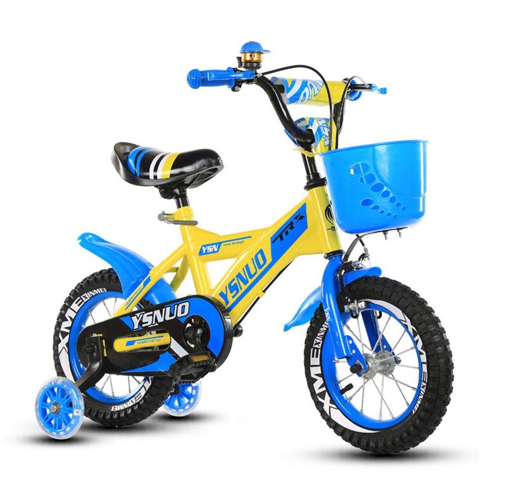 子供の自転車12|14|16|18インチアウトドアの子供ベイビーキッドマウンテンバイクフラッシュトレーニングホイールで2歳から10歳の男の子の女の子の贈り物|プラスチックバスケット安全な負荷50KGブルー B0789JHQWF 18 inches