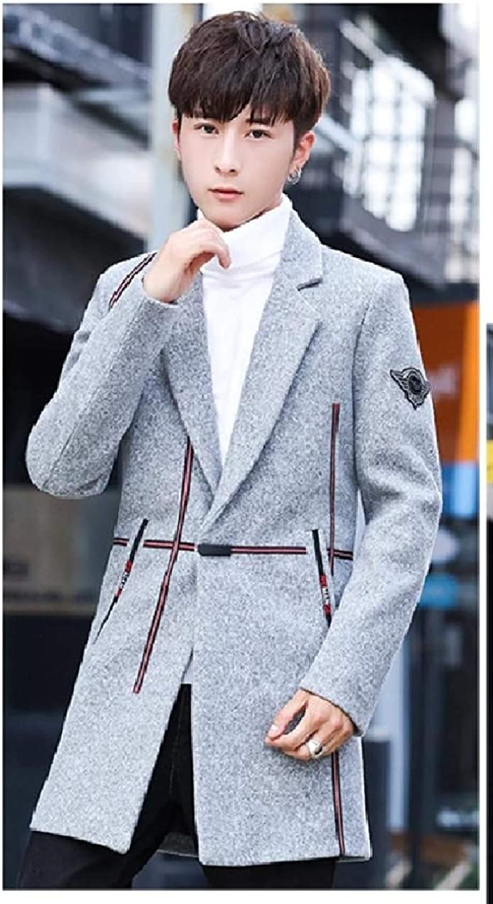 XiaoShop Mens Classic Business Hit Color Trench Jacket One Button Pea Coat