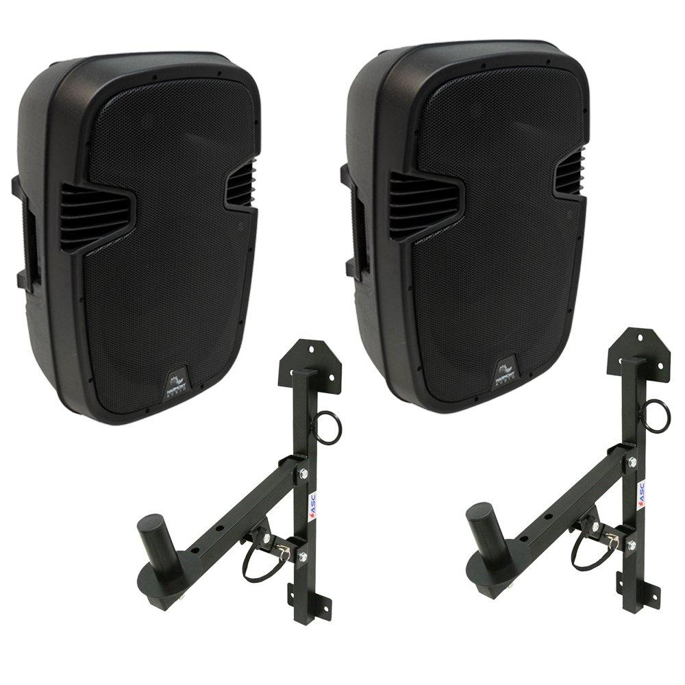 (2) Harmony Audio HA-L12BA DJ Bluetooth 12'' 1000W Powered PA Speaker & Mounts by Harmony Audio