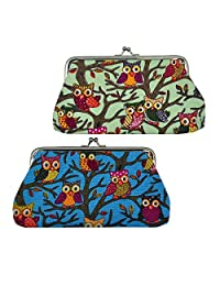 """Oyachic 2 Packs Coin Pouch Phone Purse Owl Pattern Clasp Closure Wallet Gift 7.1""""L X 3.7"""" H"""