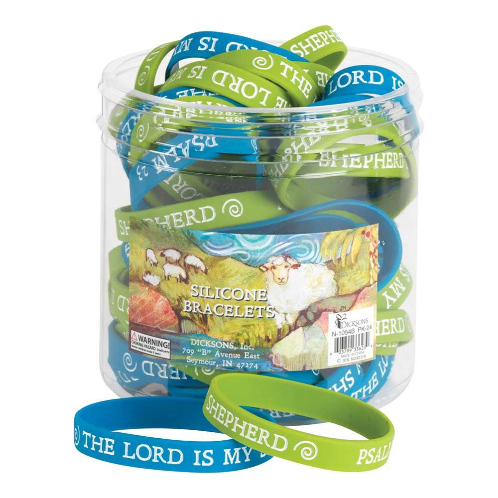 Lord Is My Shepherd Blue One Size Fits Most Silicone Bracelets Set of 24