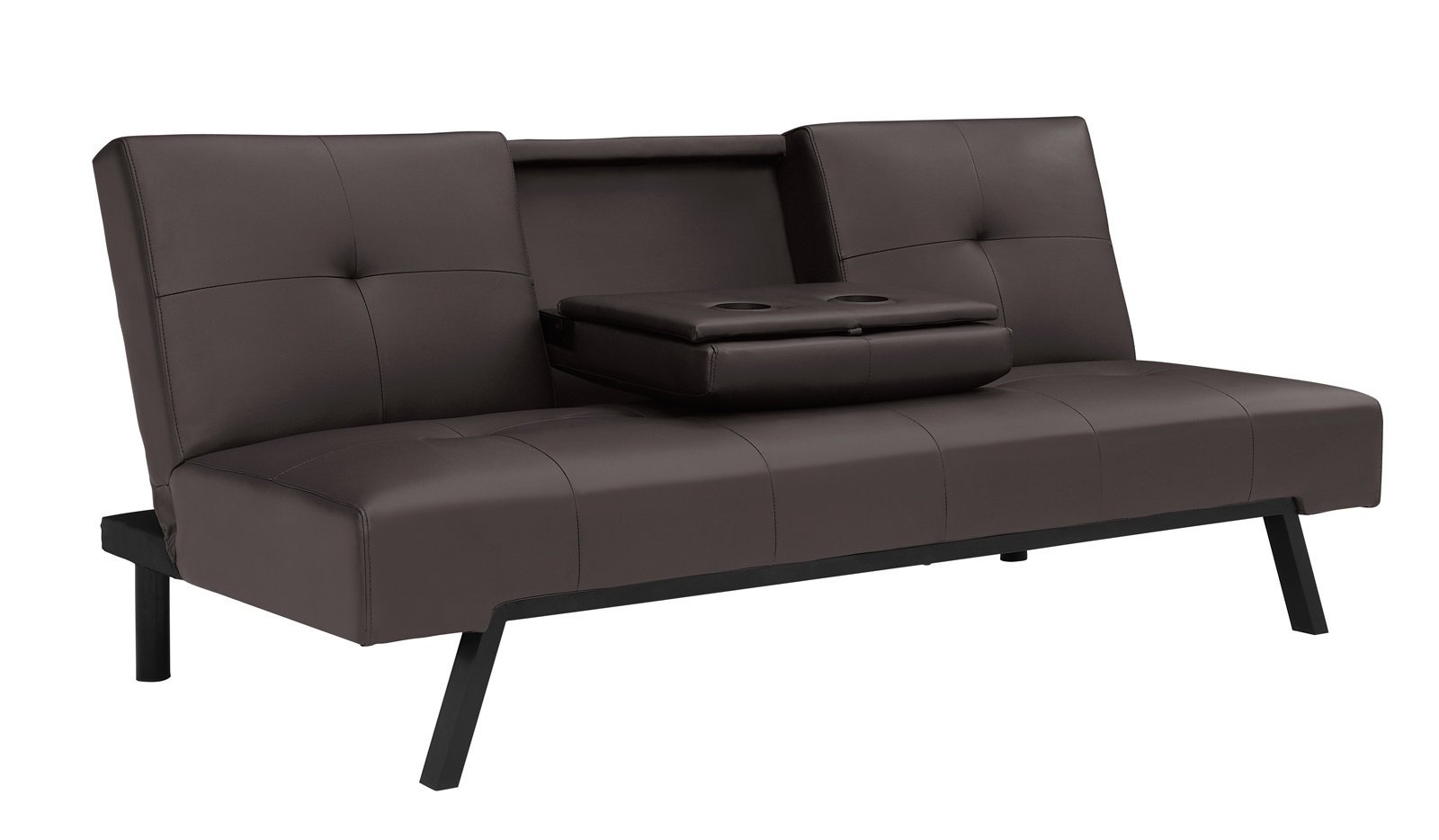DHP Wynn Futon Couch with Fold-Down Cup Holder - Brown by DHP