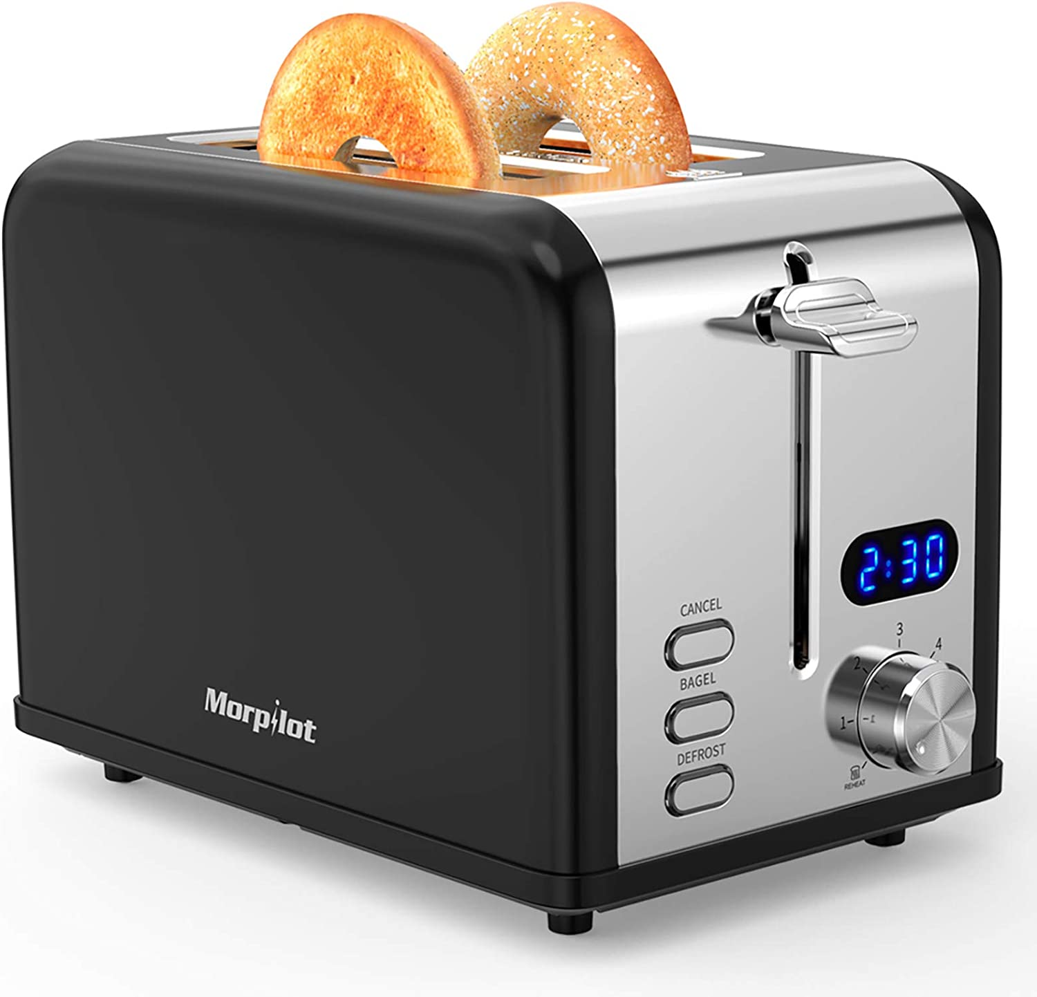 Toaster 2 Slice, Morpilot Retro Stainless Steel Bagel Toasters with Timer, Wide Slots, Removable Crumbs Tray, Black