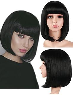Peluca de pelo negro corto de Golden Rule para mujer Peluca de pelo sintético con flequillo