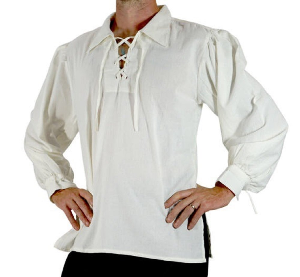 Bbalizko Mens Medieval Retro Cosplay Costume Lace Up Stand Collar Shirt Tops by Bbalizko (Image #1)