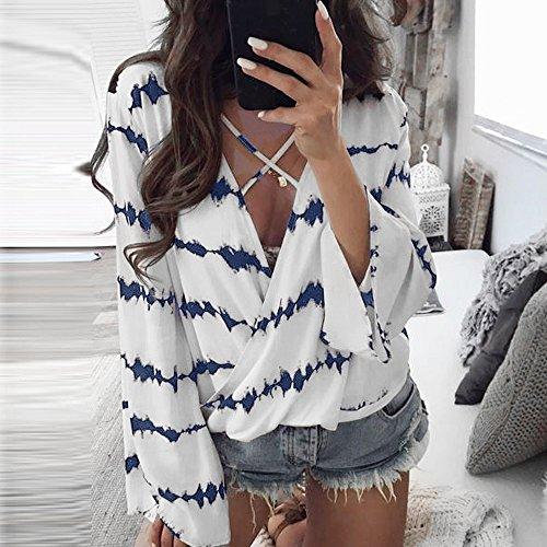 Femme Manche Chemisiers Blouse Taille Shirt Col Longue Bleu Weant Tee Grande Casual et Blouse V Femme Rayures Imprim Chemise Tops Shirt Femme Blouses TfqwYUEw