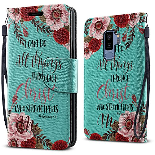 FINCIBO Case Compatible with Samsung Galaxy S9 Plus, Fashionable Flap Wallet Pouch Cover Case + Card Holder Kickstand For Samsung Galaxy S9 Plus 6.2 inch - Christian Bible Verses Philippians 4:13 - Bible Cover Flap