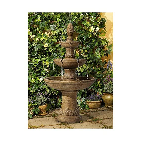 "John Timberland Domanico Outdoor Floor Water Fountain 57"" Tan 3-Tiered Floor Cascading for Yard Garden Lawn - Three tier floor fountain design. Tan finish. Lightweight resin construction. - patio, outdoor-decor, fountains - 61AyLLyknrL. SS570  -"