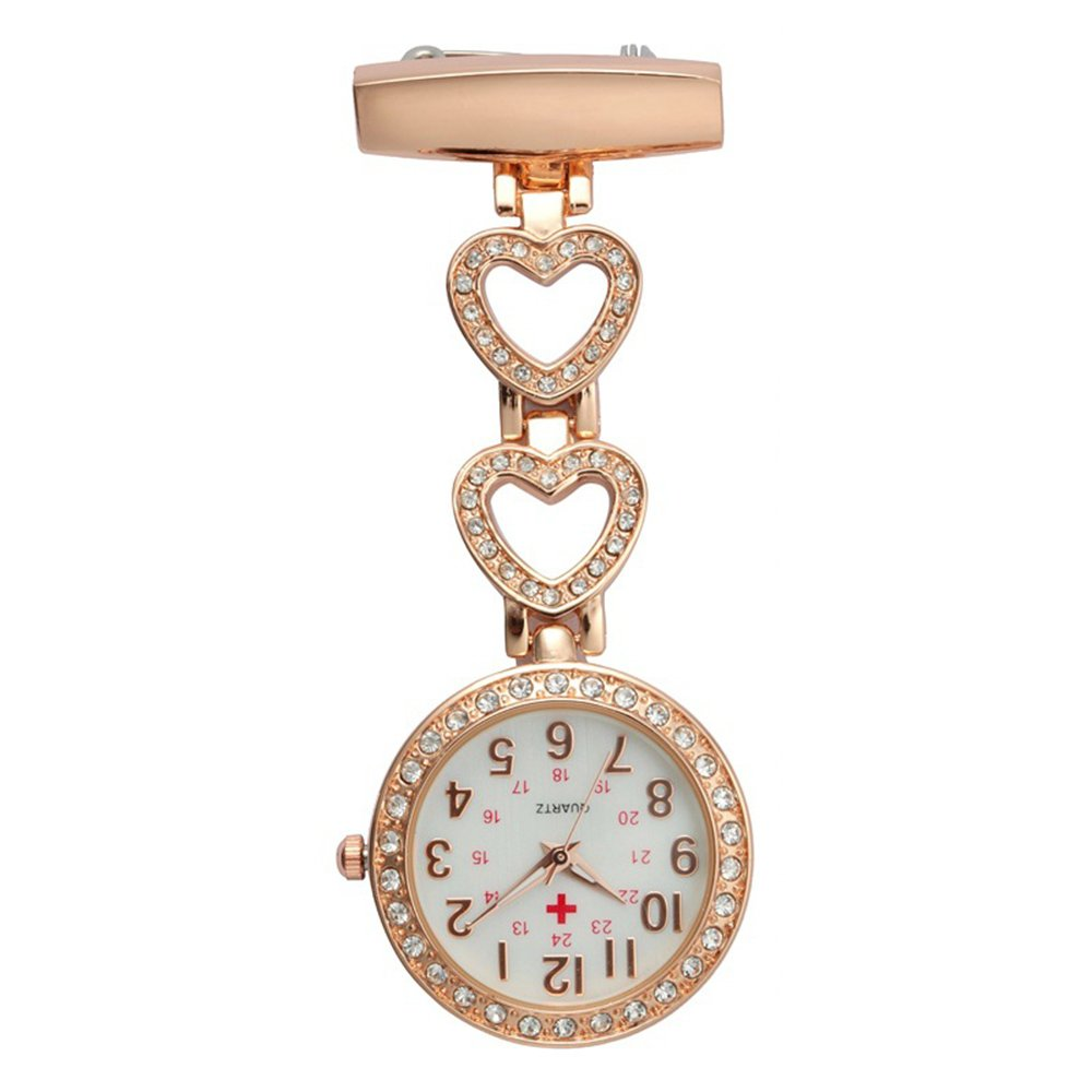 Creative Brooches Portable Medical Doctor Nurse Fob Watch Arabic Numerals Rhinestone Heart, Rose Gold by Guirui Watch