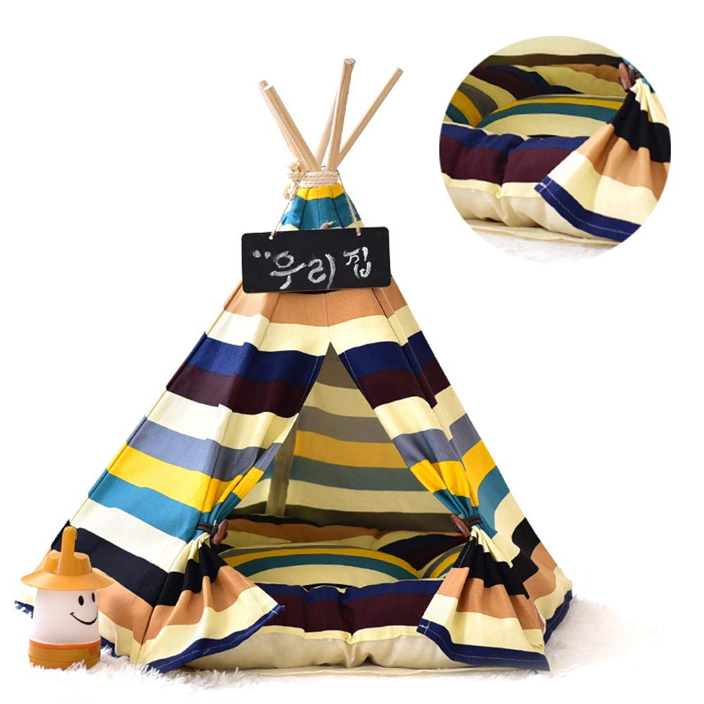 L JLCYYSS Removable And Washable Stripe Pet Kennels Teepee Pet Play House Dog Play Tent Cat Dog Bed,Christmas Can Hang String Lights (Including Mats)