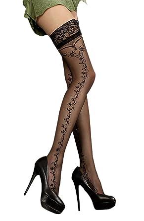032402fb985 Ladies Sheer Sparkly Black Side Swirl Print Hold Ups  Amazon.co.uk  Clothing