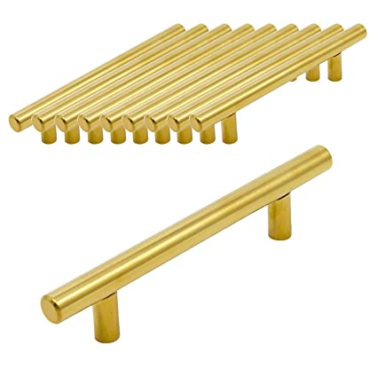 Probrico - 10 tiradores de acero inoxidable dorados para ...