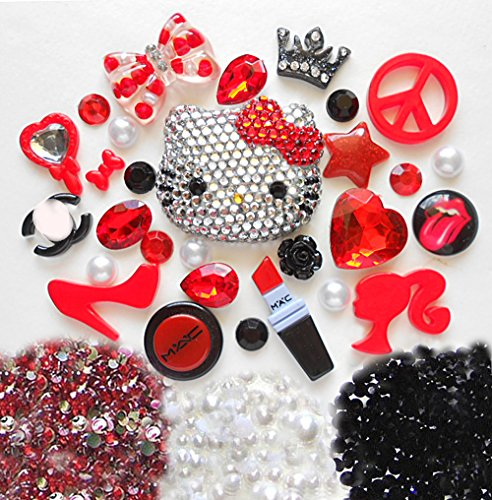 LOVEKITTY TM Z387 DIY 3D Blinged Out Red Bow Hello Kitty Inspired BlingBling Cell Phone Case Resin Flatback Kawaii Cabochons Deco Kit / Set
