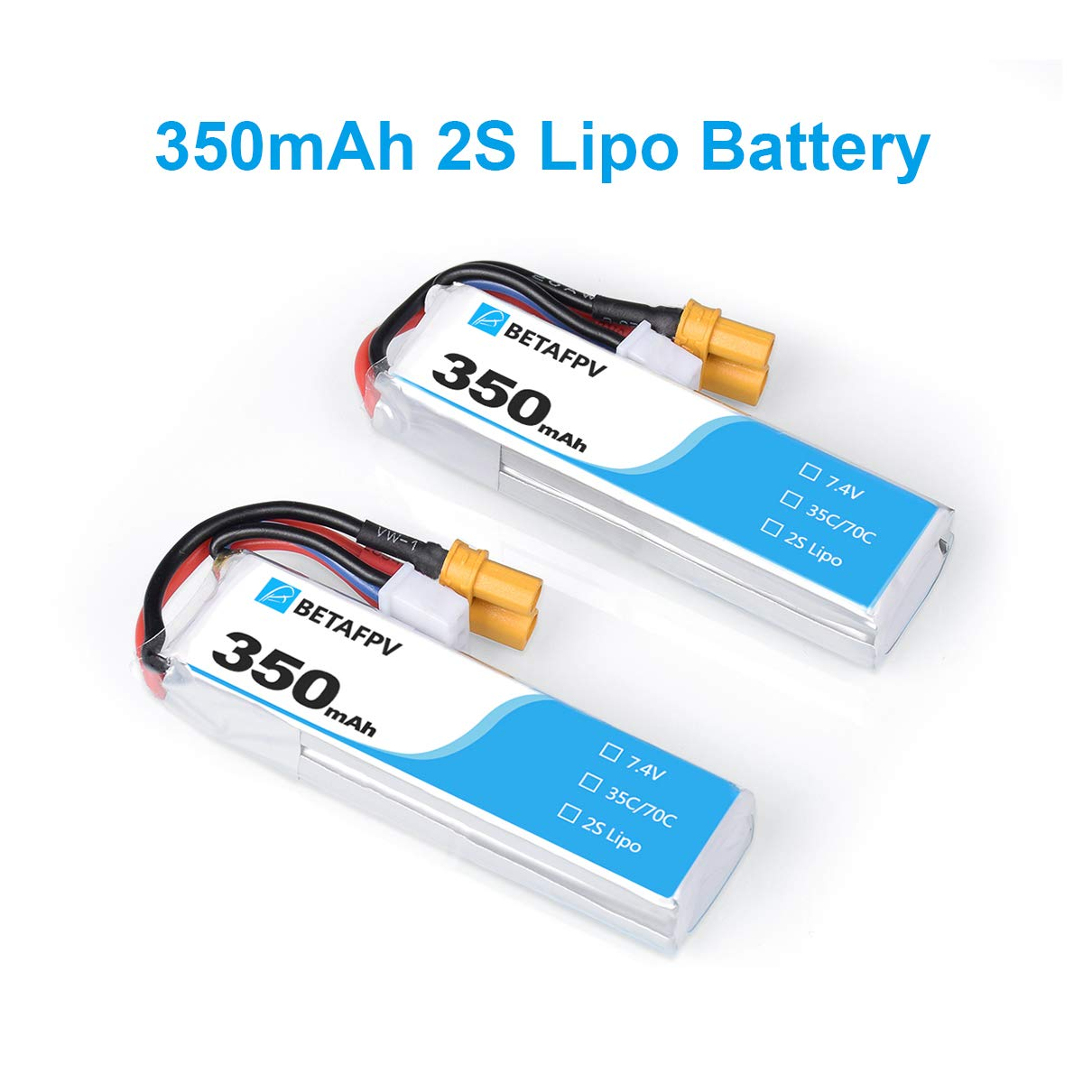 BETAFPV 2pcs 350mAh 2S Lipo Battery HV Battery 35C/70C 7.4V with XT30 20AWG Silicone Wire for 2S