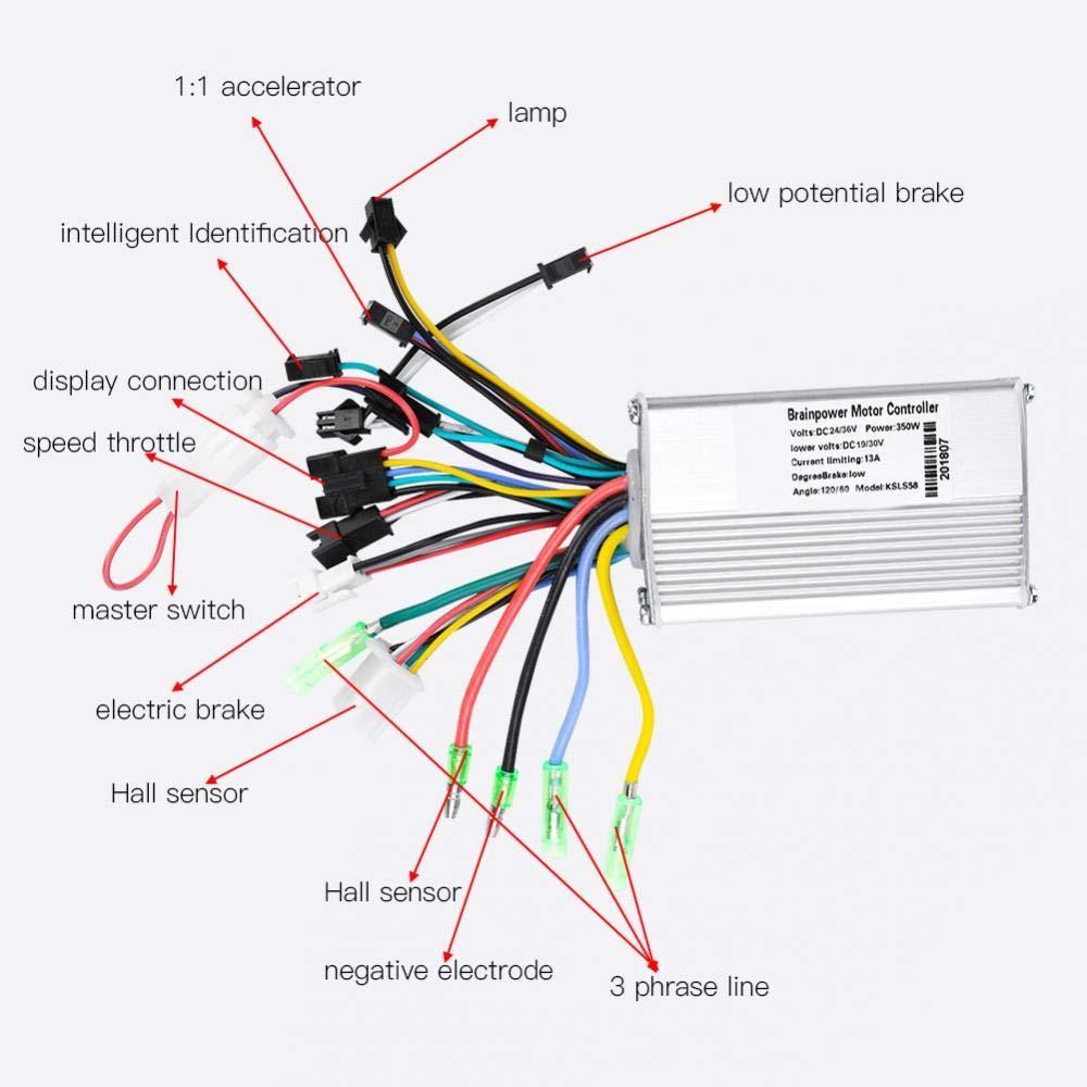 Alomejor Controlador sin escobillas del Motor Pantalla LCD Impermeable 24V-48V y Kit de escobillas sin escobillas del Controlador del Motor