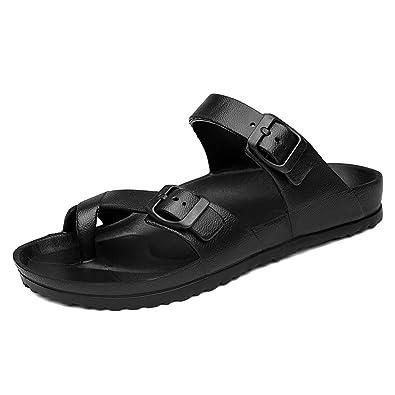 Sandaletten Sommer Herren Schnalle Rundzehen Offenen Einfach Peep-Toe Entspannt Atmungsaktive Rutschfest Sandalen Schwarz 39 EU rpz9kkTQz