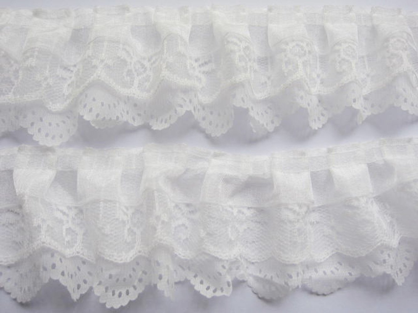 YYCRAFT Pack Of 15y 3-layer Pleated Organza Lace Edge Trim Gathered Mesh Chiffon Ribbon by YYCRAFT