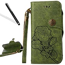 """Flip Case for iPhone 6S 4.7"""",Wallet Case for iPhone 6,Leeook Retro Elegant Green Rose Flower Leaf Creative Pattern Design Luxury PU Leather Magnetic Closure Buckle Flip Wallet Folio Inner Soft TPU Case with Card Slots Stand Function Book Style Strip Bumper Cover Case for iPhone 6S / 6 4.7"""" + 1 x Free Black Stylus"""
