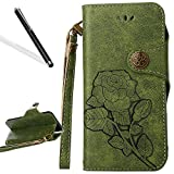 Flip Case for iPhone 5S,Wallet Case for iPhone SE,Leeook Retro Elegant Green Rose Flower Leaf Creative Pattern Design Luxury PU Leather Magnetic Closure Buckle Flip Wallet Folio Inner Soft TPU Case with Card Slots Stand Function Book Style Strip Bumper Cov