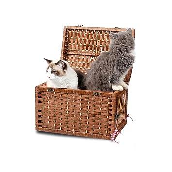 Jizhen Canasta Tejida para Mascotas Canasta de Mimbre para Gatos Jaula para Mascotas Cachorro Gato Fuera