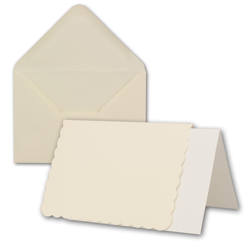 Carta pacchetto DIN A6/C6con bordo di onde | Panna | 24Set | Doppia della copertura con bordo welligem & buste, 14,8x 10,5cm | con scatola regalo di alta qualità | bedruckbare Cartoline | Ideale per Natale, biglietti di augur