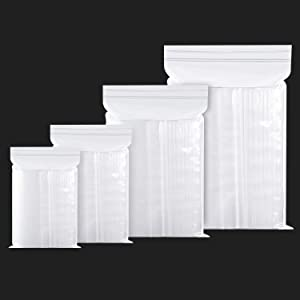 400PCS Thick Poly Ziplock Bags, Clear Durable Food Grade Safe PE Plastic Bags for Dry Goods, Candy, Tea, Coffee and Small Parts Storage.(4 Assorted Sizes,2.75 Mil) 2x2.76 3.2x4.72 4x6 6.3x9.5 Inch