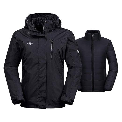 9fc977f33 Wantdo Women's 3-in-1 Waterproof Ski Jacket Interchange Windproof Puffer  Liner Warm Winter Coat Insulated Short Parka