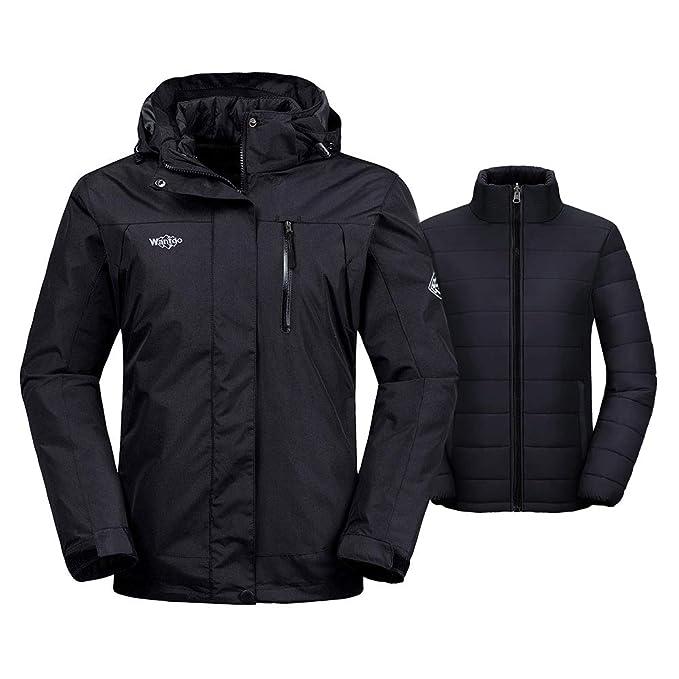 Wantdo Womens 3-in-1 Waterproof Ski Jacket Interchange Windproof Puffer Liner Warm Winter Coat Insulated Short Parka